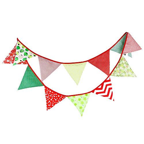 Banderines de tela de 3,3 m con 12 banderines triangulares