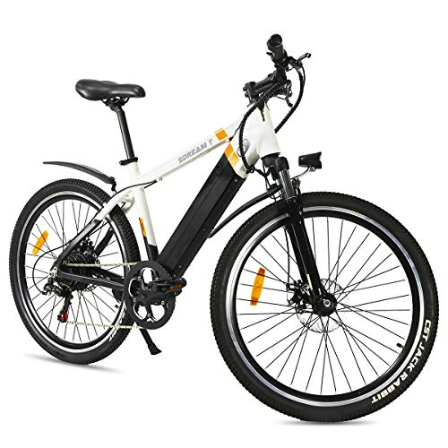 SDU Mountain Electric Bike SDREAM T350, Bicycle for Mountain/Urban, 1.95″ Tire 26″ Spoked Wheels, Front Suspension, Max 20 MPH Speed with 350W Motor and 48V/10.4Ah Removable Battery (White)