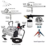 I.E.E Complete Airbrush Kit Air Compressor 3 Airbrush Hobby Auto Paint