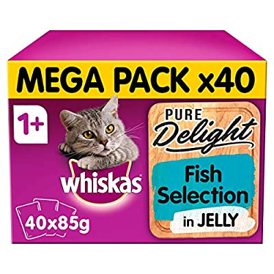 Whiskas Pure Delight Fish Selection in Jelly Adult 1+ Wet Cat Food, 40 x 85 g