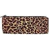 Bolso de lápices Animal Leopard Print, Estuche de lápices Bolso de cremallera Bolso Bolso de maquillaje Bolsa de pincel de maquillaje para la oficina de trabajo escolar, 7.7X7.7X20.5Cm