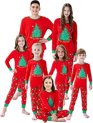 Family Matching Christmas Pjs Christmas Tree Boys Girls Pajamas Kids Sleepwear Size 5 Red product image