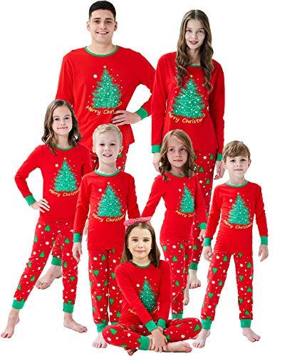 Family Matching Christmas Pjs Christmas Tree Boys Girls Pajamas Kids Sleepwear Size 5 Red