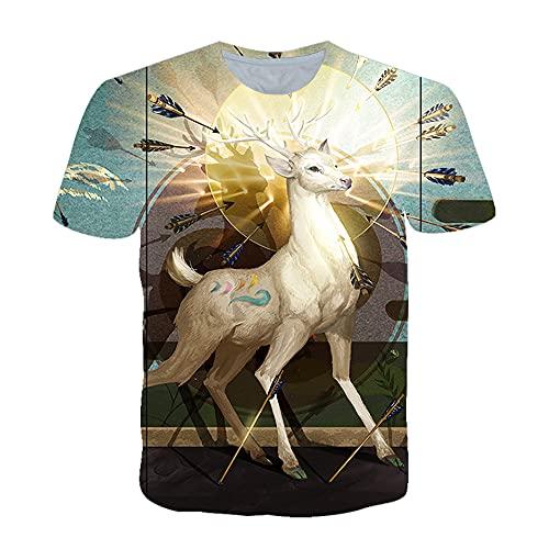 Shirt Hombre Verano Cuello Redondo 3D Impresión Creativa Hombres T-Shirt Transpirable Estilo Hip Hop Moda Hombres Ocio Shirt Tendencia Moda Hombres Streetwear TD01 L