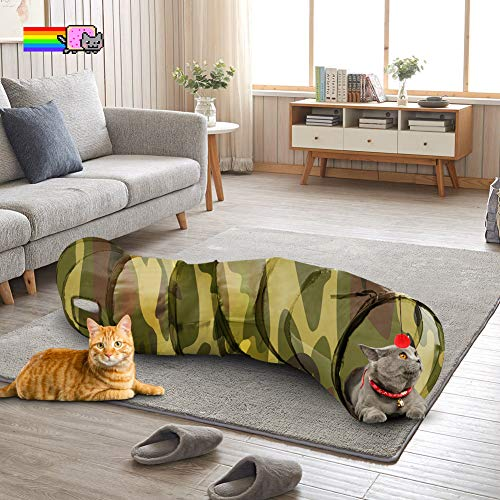 QLING Cat Tunnel with Play Ball, Interactive Peek-a-Boo Cat Chute Cat Tube Toy, Camouflage S-Tunnel for Indoor Cat, Best for Puppy, Kitty, Kitten, Rabbit