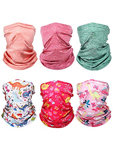 Boao 6 Pieces Kids Summer Neck Gaiter Ice Silk Face Cover Bandanas Non-Slip Balaclava Neck Cover (Classic Colors)