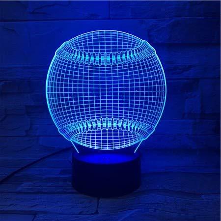 Sanzangtang Led-nachtlampje, 3D-Vision-Seven Colors-afstandsbediening, nachtlampje Sports Tennis Variety of batterij-aangedreven nachtlampje, kaarsen