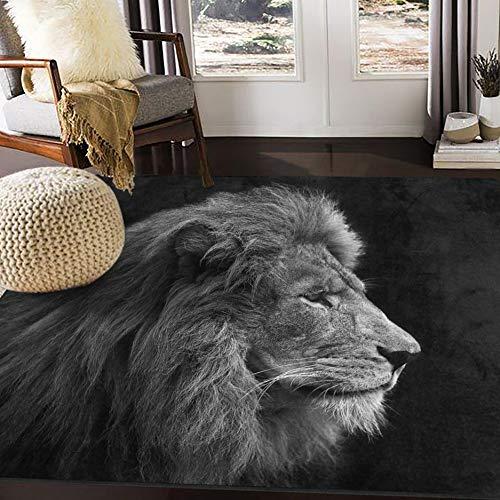 ALAZA Art Lion Head Black Area Rug Rugs for Living Room Bedroom 7' x 5'