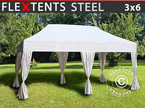 Carpa Plegable Carpa Rapida FleXtents Steel 3x6m Blanco, Incluye 6 Cortinas Decorativas