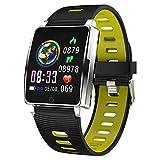 Padgene SmartWatch Reloj Inteligente IP67 Impermeable Bluetooth Pulsera Actividad Deportiva con Pulsómetro Monitor de Sueño, Música, Notificación de Llamada Mensaje para Android e iOS (Amarillo)