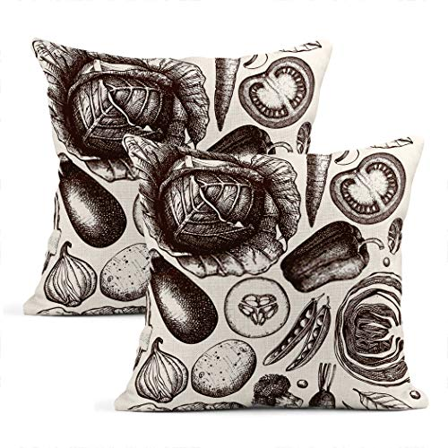 Heyqqo Set of 2 Cushion Covers Linen Healthy Food Ink Vegetables Sketch Vintage Fresh Organic Line Art Outlines Pillowcases Square Soft Home Decor Pillow Cases Sofa Bedroom 16x16 Inch