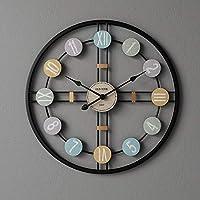 壁掛け時計 大きな金属壁時計ヴィンテージウォールミュートデジタル時計ルームインテリアメカニズムモダンデザインホームデコレーション LWSJP (Color : ブラック, Sheet Size : 40x40cm)