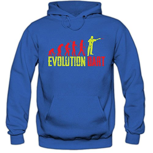 Shirt Happenz Dart Evolution #1 Hoodie | Dartkönig | Pfeil | Dartworld | Herren | Kapuzenpullover, Farbe:Blau (Royalblue F421);Größe:L