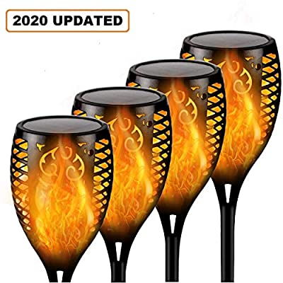 4 Pack Solar Lights Outdoor, Upgraded Brighter 96 LED Solar Torch Light with Flickering Flame, Waterproof Landscape Lighting Decoration Lights for Patio Pathway Garden - Dusk to Dawn Auto On/Off