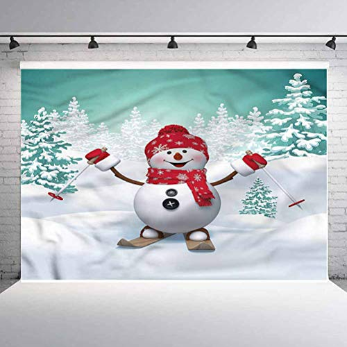 5x5FT Vinyl Photography Backdrop,Christmas,Skiing Snowman Trees Background for Graduation Prom Dance Decor Photo Booth Studio Prop Banner