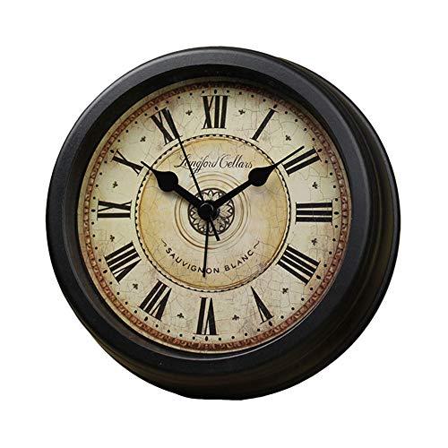 El Reloj de Tabla Living Room Decor pequeño Escritorio Relojes con Pilas AA no tictac de la Vendimia números Romanos Dormitorio de Noche Decoración Retro Europea