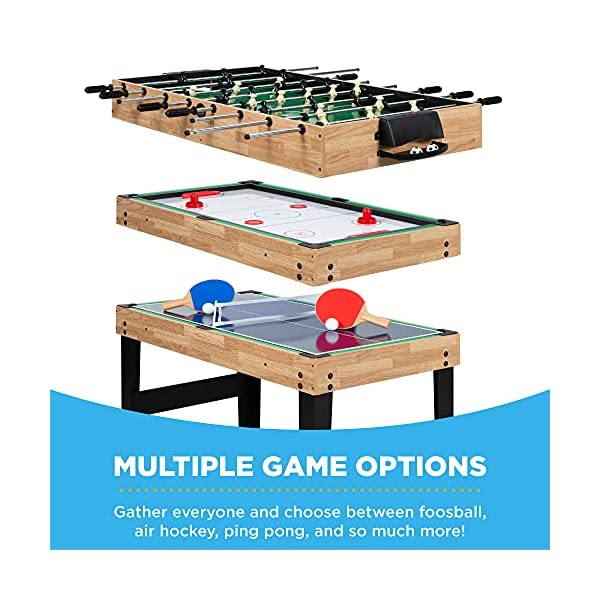 best choice products 2x4ft 10-in-1 combo game table set for home, game room, friends & family w/hockey, foosball, pool…