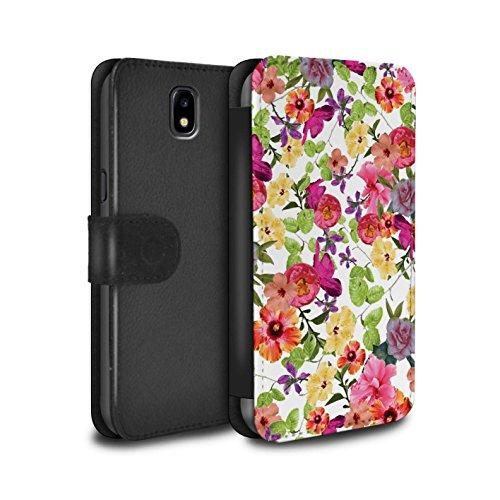 Stuff4 - Funda de Piel sintética con Tapa y Tarjetero, diseño de Flores, Color Rosa Jardin Zariya Samsung Galaxy J7 2017/J730