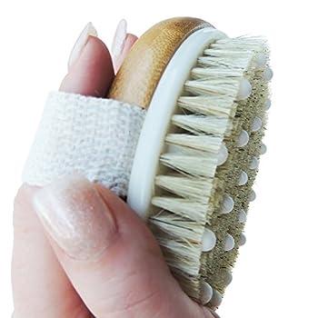 Ozziko Anti Cellulite Dry Brushing Body Brush Skin Exfoliating Massager Brush for Celulite Dry Skin Ingrown Hair Stretch Marks Lymphatic Drainage Scars Acne Razor Bumps Natural Boar Bristles.