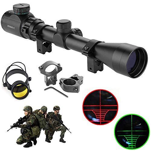 HENGMEI Zielfernrohr Gewehrzielfernrohre mit Montage Rote und grüne Punkt Visier Luftgewehr Rifle Scopefür Jagd und Sport (3-9x40EG-11mm Montagen)