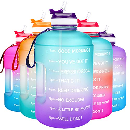 QuiFit Motivational Gallon Water Bottle - with Straw & Time Marker BPA Free Large Reusable Sport Water Jug with Handle for Fitness Outdoor Enthusiasts Leak-Proof (Green/Purple,1 Gallon)