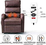 Electric Lift Chair with USB Port and Side Pocket for Elderly Infinite Position Power Lift Recliner with Heat and Massage Textured Suede Lift Recliners -Brown