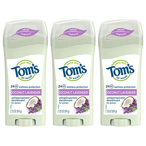 Tom's of Maine Women's Antiperspirant Deodorant Stick, Deodorant for Women, Antiperspirant for Women, Coconut Lavender, 2.25 Ounce, 3-Pack