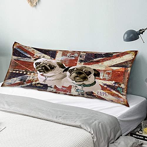 Copricuscino per il corpo,bandiera inglese del cane toro britannico,Federa lunga e morbida con chiusura a cerniera per divano da camera da letto decorativo 20'x 54'