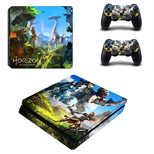 MightyStickers - Horizon Zero Dawn #6 PS4 Slim Console Wrap Cover Skins Vinyl Sticker Decal Protective for Sony PlayStation 4 Slim + 2 Controller