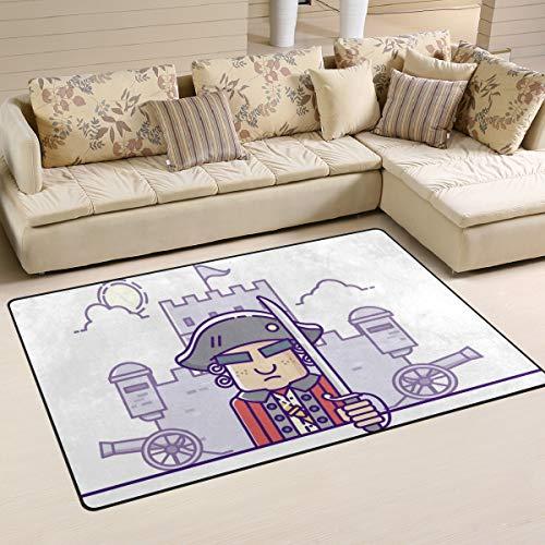 ALINLO Teppich, kolonial, lustiger Cartoon-Teppich, rutschfest, für Innen- und Außenbereich, Eingangstür, Badezimmer, Dekoration, ca. 30 x 60 cm, Polyester, Mehrfarbig, 60 x 39 inch