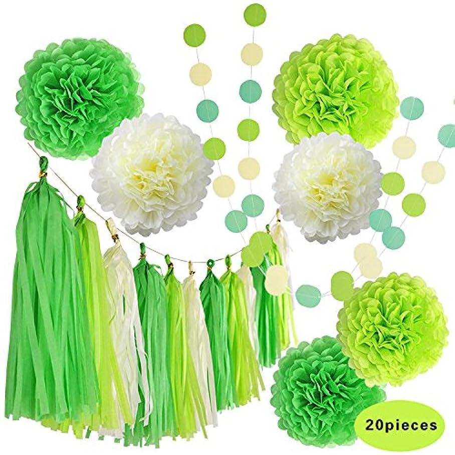 LEMENSTART Tissue Paper Pom Poms Tissue Tassel Garland Polka Dot Paper Garland Green Cream 20 Pcs for Wedding Party Decoration m344941984