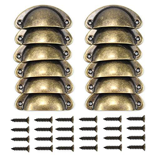 12Pz Tiradores para Cajones Vintage, Tiradores Muebles de Cocina Vintage Retro Bronce, Muebles Cocina Armario Cajón Tire Tiradores y Pomos, con Tornillos