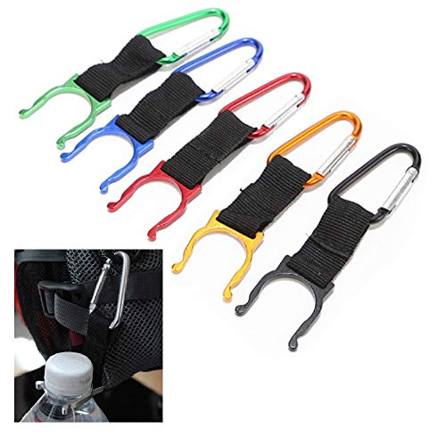 N\A 5 Pcs Water Bottle Holder, Portable Carabiner Bottle Buckle with Hanging Strap Webbing for Webbing Rucksack/Backpacks, for Camping Hiking and Outdoor Activities