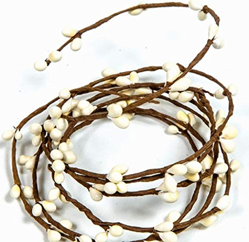 Ivory Pip Berry Single Ply Garland 18' Country Primitive Floral Craft Decor - 3 Strands of 6' Garland That Can Be Utilized Separately or Twisted Together to Equal 18 Feet of String Garland