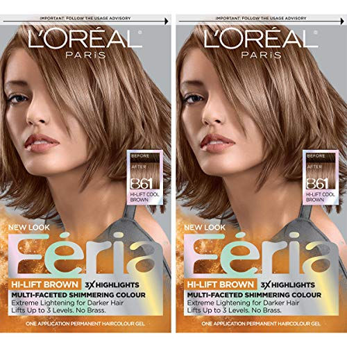 L'Oreal Paris Feria Multi-Faceted Shimmering Permanent Hair Color, B61 Downtown Brown, Pack of 2, Hair Dye