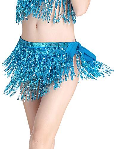 Falda Danza del Vientre para Mujer Lentejuelas Latino Flecos Irregular Falda Corta Baile de Saln Disfraz Fiesta Dancewear Azul Color Talla nica Blue