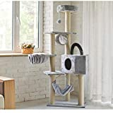 Qazxsw Cat Tree Sisal Scratching Post Kitten Furniture Plush Condo Playhouse con Juguetes Colgantes Gatos Centro de Actividades
