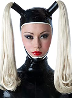 Latex Rubber Open Face with Double Ponytail Wigs Hoods Masks 0.4MM
