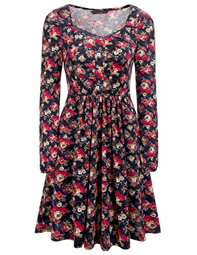 Parabler Damen Kleider Blumen Langarm Sommerkleid Freizeitkleid Strandkleid Knielang A Linie mit Knopf (M, PAT1)