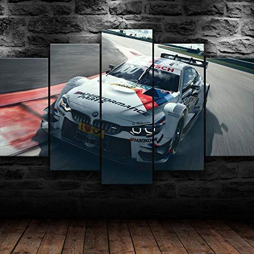 ADKMC 5-Teilig auf Leinwand, M4 Motorsport Car Modern Bilder fertig gerahmt mit Keilrahmen, Kunstdruck auf Wandbild mit Rahmen