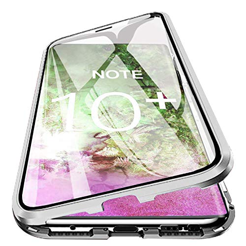 Galaxy Note10+ Plus Magnetic Case, PHOVOLT 360° Tempered Glass Shockproof Magnetic Adsorption Metal Bumper Flip Cover (Clear + Silver)