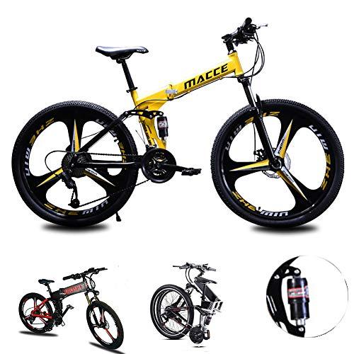 Acptxvh Mountain Bike für Männer Frauen, Falten Leichter Aluminium-Fully-Rahmen Fahrrad, 21/24/27-Gang, DREI Rad-Cruiser Dual-Scheibenbremse,Gelb,26inch 26speed