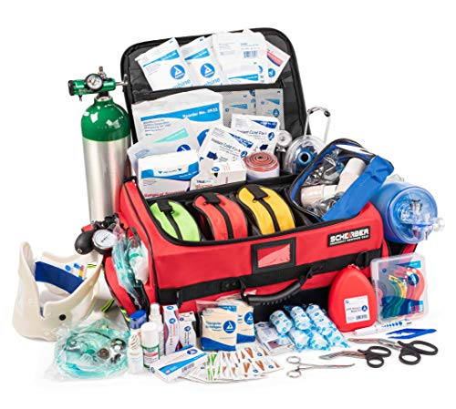 Scherber First Responder Bag | Fully Stocked Ultimate Professional EMT/EMS Trauma Kit | Reflective Bag w/10+ Compartments, Zippered Pockets, Dividers, Oxygen Access & 250+ First Aid Supplies - Red