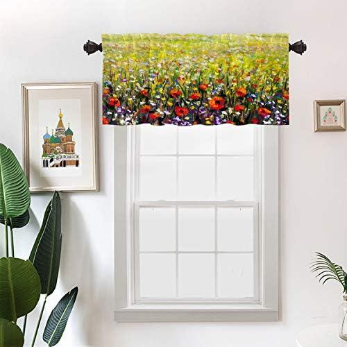Batmerry Flowers Red Landscape Kitchen Valances Half Window Curtain Claude Monet The Artists product image
