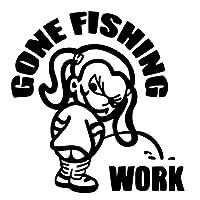 釣りステッカー■Gone Fishing Girl【女の子バージョン】カッティングタイプ 防水ステッカー【16色選択】ゴーンフィッシング シール 爆釣り