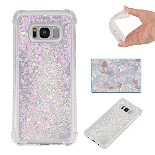 Galaxy S8 Coque Silicone Paillette, Galaxy S8 Étui de Protection, 3D Sables Mouvant Transparente Brillante Liquide Glitter Souple Silicone Housse Couverture pour Samsung Galaxy S8 G950 5.8 Pouce