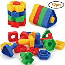 AIBELY Jumbo Nuts and Bolts Toys 52Psc for Toddlers Preschoolers Kids, STEM Educational Montessori Building Construction Screw Matching Activities for 3,4,5 Year Old Boy and Girl.