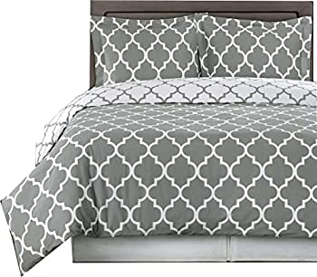 Royal Hotel Gray and White Meridian King/Cal-King 3-Piece Duvet-Cover-Set 100% Cotton 300 TC