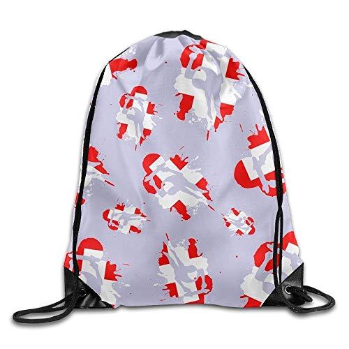 NA Schweizer Flagge Schlitten Kordelzug Rucksack Tasche Turnbeutel Tragbarer Sack Aufbewahrungstasche für Camping Wandern Schwimmen Shopping Wandern Reisen Strand