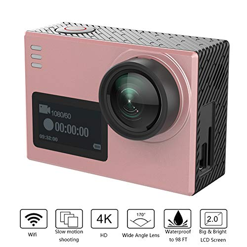 SHENGY 4K sportduikcamera, 16 MP anti-shake extreme action camera, 2 inch touchscreen, 170 ° kijkhoek, gyrostabilisatie onderwatercamera